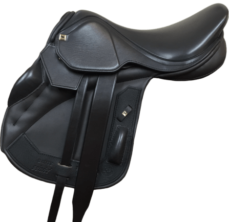 Dante Vinici Jump Whether dressage, jump, or GP, the new Dante line from Black Country features a narrower twist and forward balance to really put the rider as close as possible to the center of the horse's balance and in the most optimal position. Stylistically, the Dante is set apart by its squared off cantle, flaps, and skirt. Even the head nail is square adding to the unique appearance of this saddle! The Dante Vinici further enhances closeness of rider to horse with the monoflap design – a single layer of leather between horse's barrel and rider's leg enables you to communicate most subtly. The medium-deep seat and knee roll configuration offer non-restrictive security and support for the correct posture. Those who haven't sat in a Vinici worry that they will feel the girth straps under their thigh, but years of rider feedback assure you will not! The Dante is also available in a dual flap if you prefer a more traditional look. Calf-covered leather is the luxurious standard for this beautiful saddle.