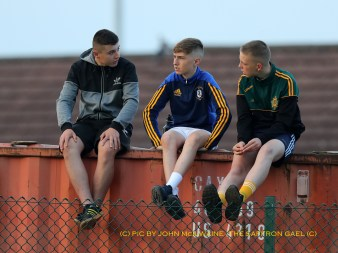 The Premier Section! Young Rossa fans watch their team's All County Football League game against Creggan at Rossa Park Pic by John McIlwaine