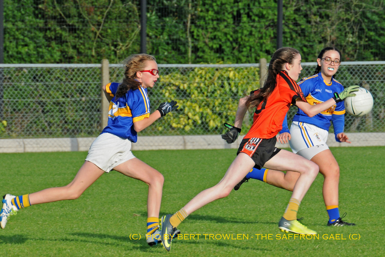 Action from Glenavy U16's win over Rossa in the All County Girls Football League game at Chapel Hill. Pic by Bert Trowlen