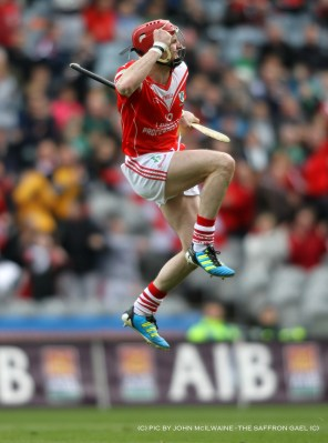 Watson celebrates the third of his three goals for Loughgiel against Coolderry of Offaly in the All Ireland Club final at Croke Park in 2012