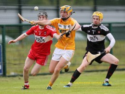 Man's of the match Tiarnan Murphy in action against Derry's Caolite McAlinden and Sean Kelly