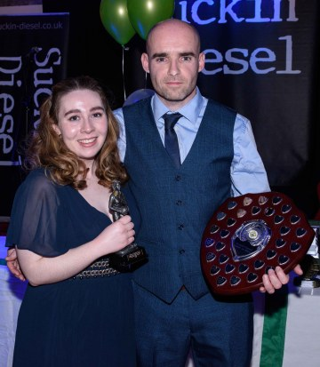Siobhan McQuillen is presented with the Ladies Player of the Year award by James McLornan,