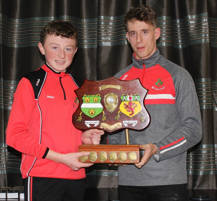 All County Feile Capt Ruairi McCormick with James McNaughton