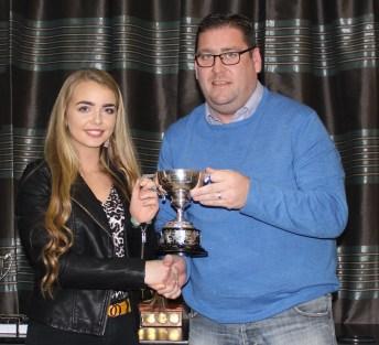 Antrim U16 POY Mary McKillen with PJ O`Mullan