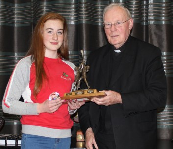 U16 Most Promising Lauren O`Boyle and Fr Sean Connolly