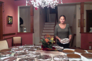 Senior Sophia Ramsey packages the pies that she and senior Sophia Vos bake for their business, Once Upon a Pie. She said baking pies for the holidays takes time away from schoolwork but is worth it in the end. PHOTO CONTRIBUTED BY SOPHIA RAMSEY