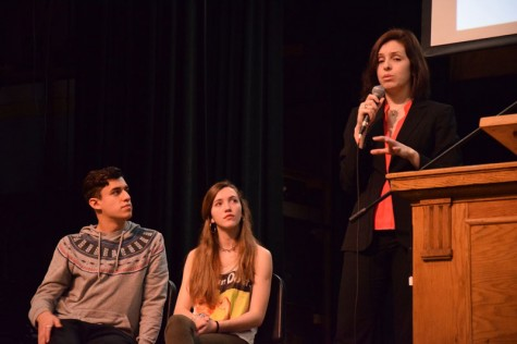 Organizing Director of MIRA Cristina Aguilera speaks at the B-block assembly. Aguilera encouraged students and staff to think of the contributions of Latinos to society.