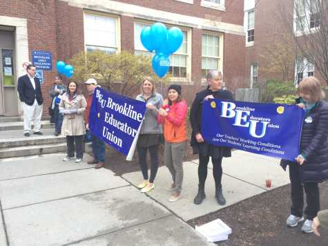 BEU members rally outside Rotary Club's annual Pancake Breakfast