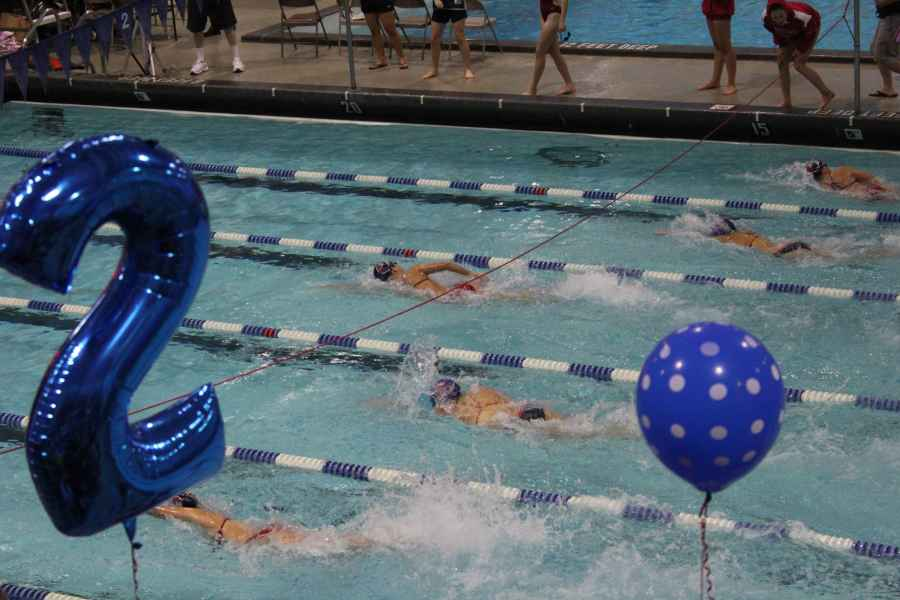 Members+of+the+girls+swim+and+dive+team+compete+during+Senior+Day.+Sam+Klein+for+the+Sagamore
