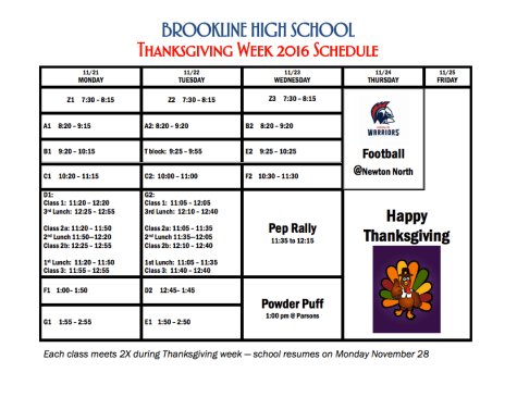 Thanksgiving week 2016 schedule