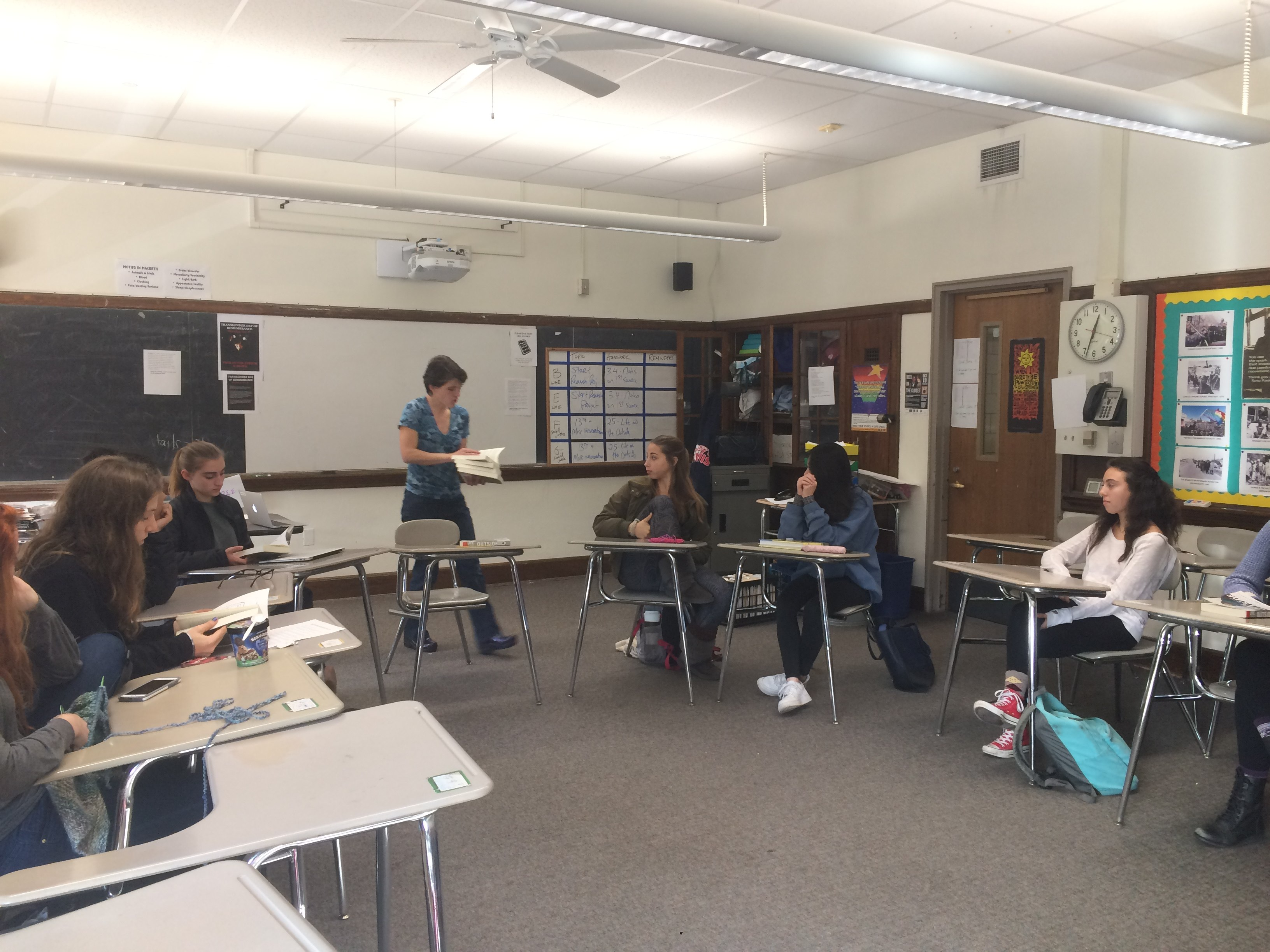 Students listen attentively during a Social Justice class taught by Social Studies teacher Kathryn Leslie.