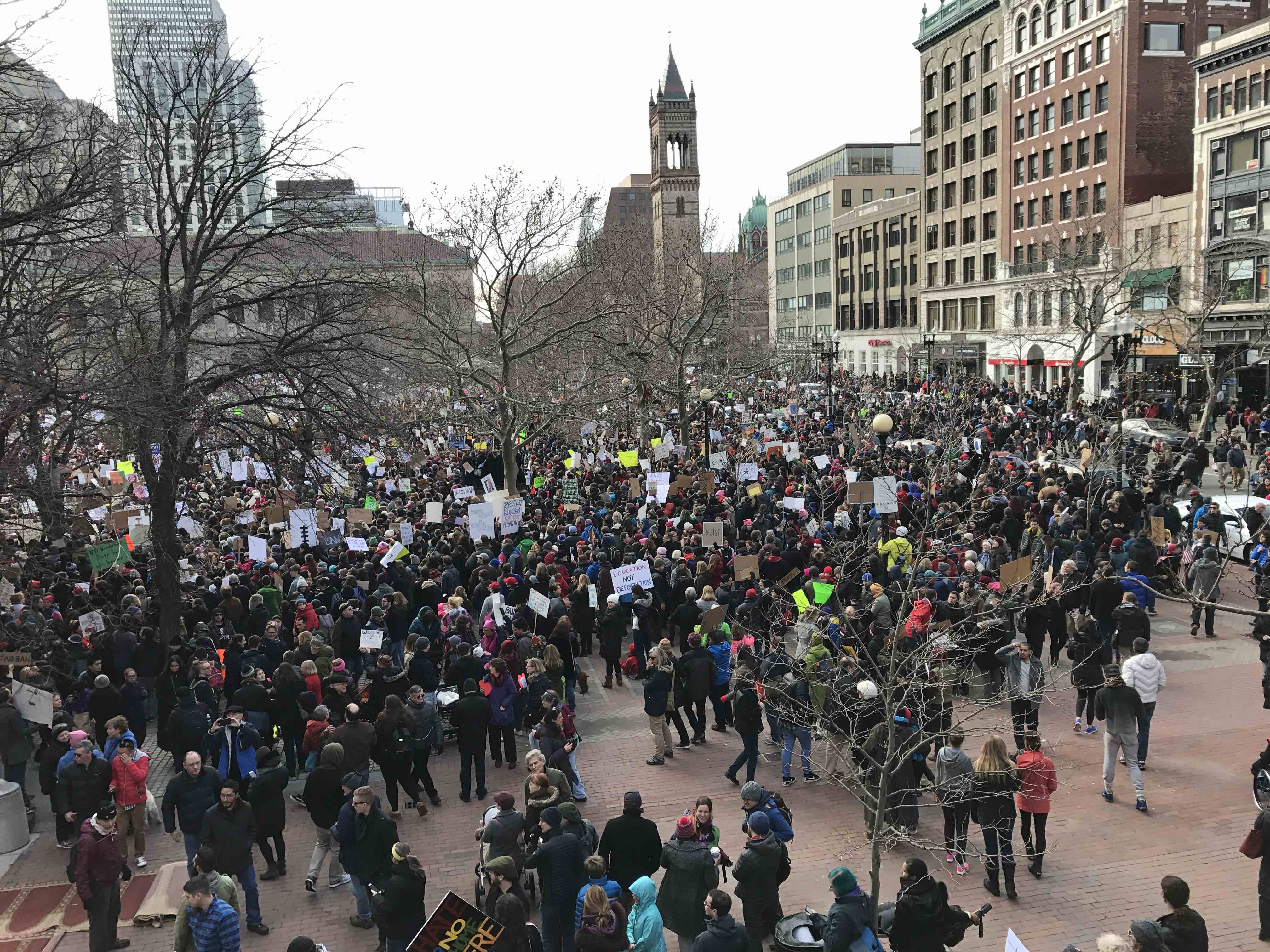 Protesters congregate in Copley Square Sunday, Jan. 29 to protest the immigration ban imposed by President Trump that denies people from seven majority Muslim countries to enter the United States.