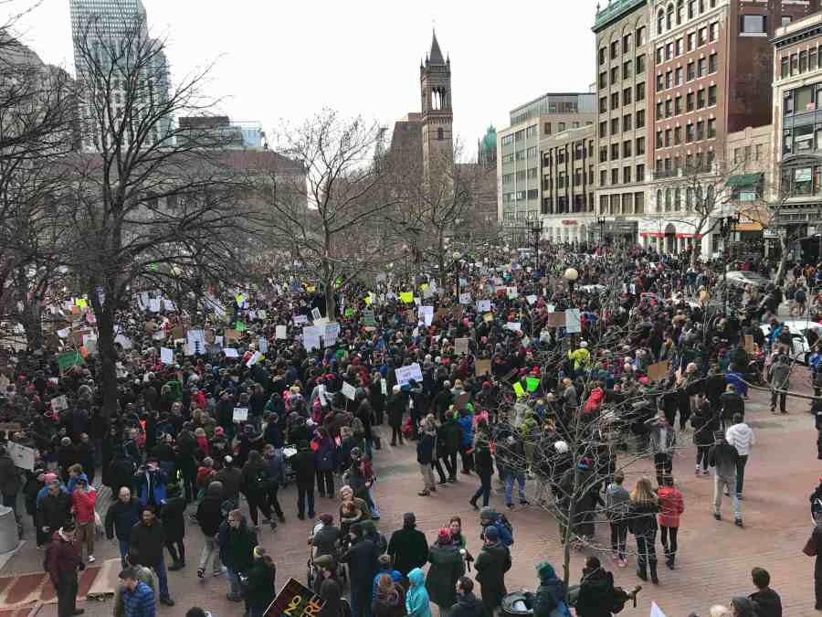 Protesters+congregate+in+Copley+Square+Sunday%2C+Jan.+29+to+protest+the+immigration+ban+imposed+by+President+Trump+that+denies+people+from+seven+majority+Muslim+countries+to+enter+the+United+States.