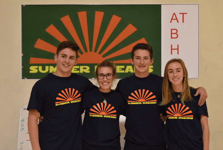 Co-presidents+Shai+Branover%2C+Isabel+Lobon%2C+Ethan+Gainsboro%2C+and+Fiona+Lobon+%28left+to+right%29+worked+to+organize+the+annual+Summer+Dreams%27+basketball+tournament+which+took+place+at+the+Brookline+Teen+Center.+This+is+the+second+consecutive+year+the+event+has+been+held.+Photo+provided+by+Summer+Dreams