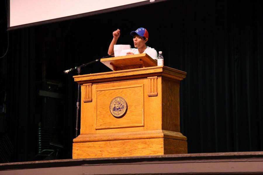 Junior+Diego+Echeverria+de+Cordova+speaks+from+his+heart+about+his+homeland%2C+Venezuela%2C+during+the+E-block+assembly+about+immigration.+Echeverria+de+Cordova+was+one+of+many+student+speakers+that+spoke+at+Asking+for+Courage+Day.+CONTRIBUTED+BY+SANDER+SOROK+