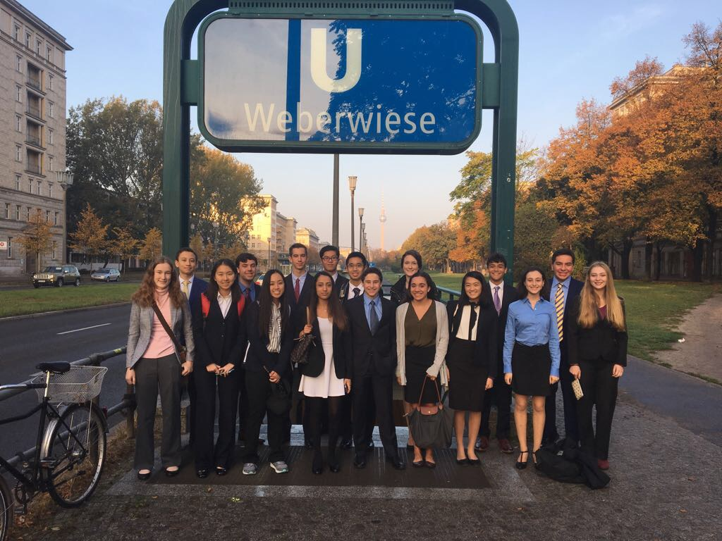 Students posed for a group photo during their time in Berlin. They attended the World Health Summit conference in October.