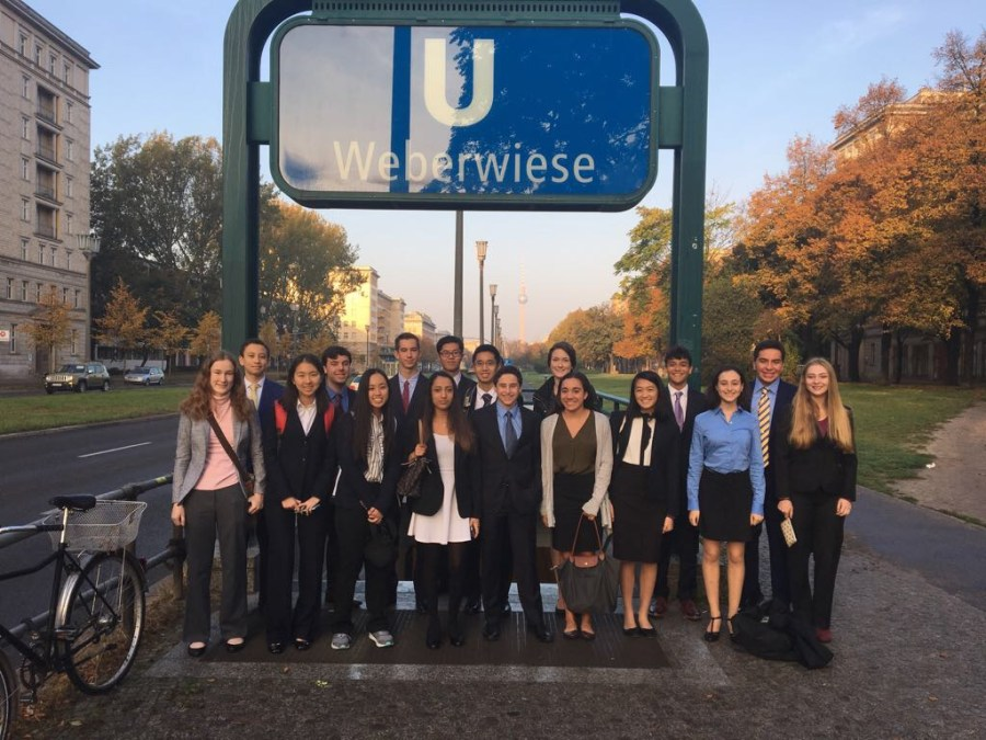 Students+posed+for+a+group+photo+during+their+time+in+Berlin.+They+attended+the+World+Health+Summit+conference+in+October.+