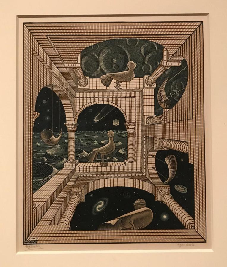 In+his+artwork%2C+Escher+plays+with+distortion+to+defy+dimensions.