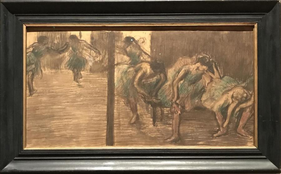 Degas%27+%22Dancers+in+the+Rehearsal+Room%22+depicts+ballerinas+in+inelegant+states+of+exhaustion.+His+art+focuses+more+on+their+off-stage+demeanor+and+emotion+than+their+dancing+itself.