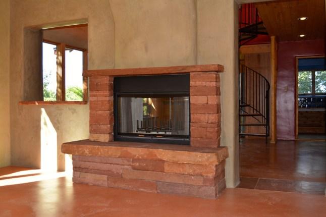 Colorado Red sandstone fireplace.