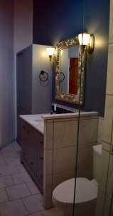 Master Bathroom with custom made cabinetry.