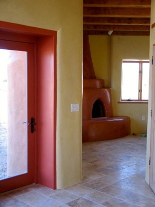 Kiva fireplace from Kitchen.