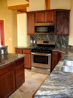 Custom cabinetry with granite counter tops.