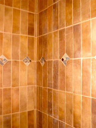Tile inlay in guest bathroom shower.