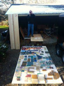 Random Pewabic tile with homeowner.