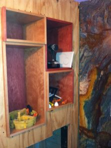 Installing Pewabic around custom cabinetry.