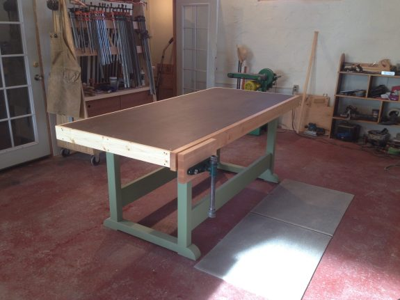 Torsion Box workbench with face vise.