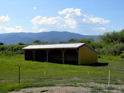 Donkey Shed with mountains.