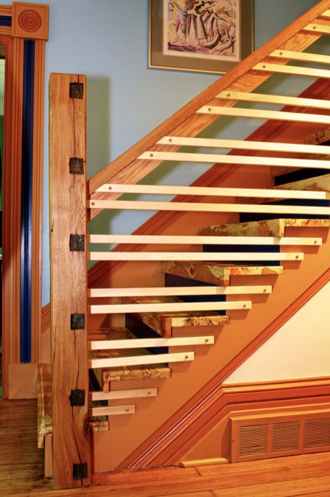 Oak newel post reclaimed from original timber frame.