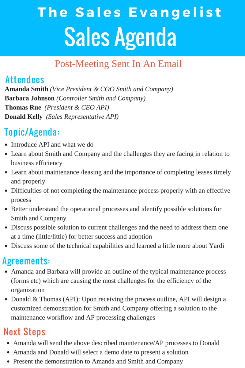 Sales Meeting Agenda Outline