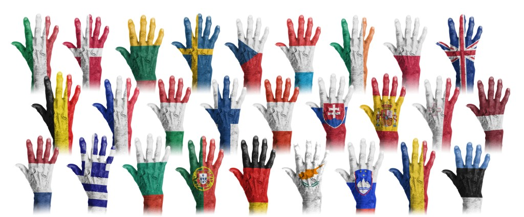 Hands with flag painting of the EU-coutries, isolated