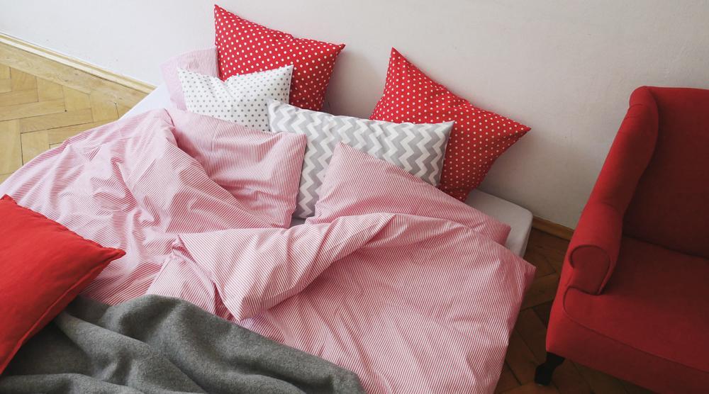 Geschwisterbett - Bettwaesche von oben