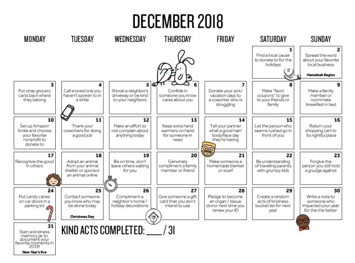 Random Acts of Kindness Calendar - December 2018