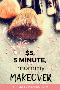 Need to freshen up your look? We've got a five minute makeup routine featuring the best drugstore makeup- each one under $5! Get a whole new look in just minutes a day with these tips from TheSaltyMamas.com. #makeup #makeuproutine #mommakeup #mommymakeover #fiveminutemakeup #fiveminutemakeuproutineformoms #drugstoremakeup #bestdrugstoremakeup