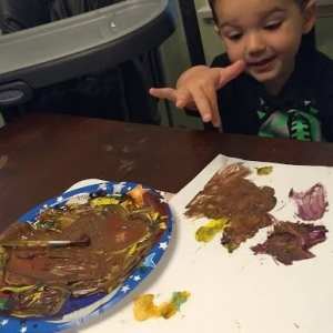 Looking for a way to get your toddler boy interested in art? Try this Monster Truck Art Activity from thesaltymamas.com! #toddlerart #artactivitiesforkids #processbasedart