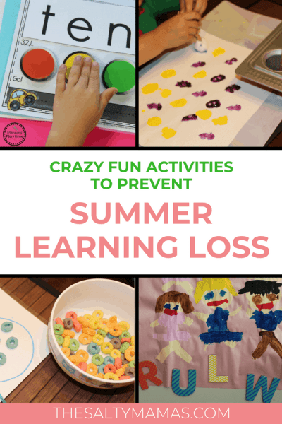 Keep their skills fresh this summer! Practice reading, math, and writing with these fun summer learning activiites at TheSaltyMamas.com. #summerlearningactivities #summerlearningloss #summerreading