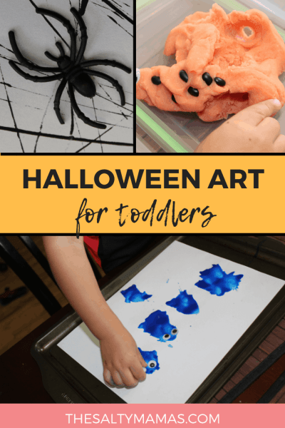 Looking for Halloween art for toddlers? We've got three fun process-based art projects to get your littles in on the Halloween fun at TheSaltyMamas.com. #halloween #halloweencrafts #halloweencraftsforkids #halloweenart #halloweenartforkids #toddlers #toddlerart #toddlerartprojects