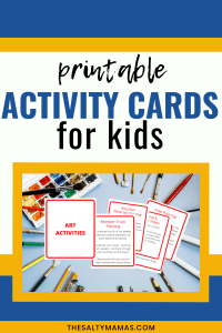 """a picture of activity cards with text overlay that reads """"printable activity cards for kids"""""""