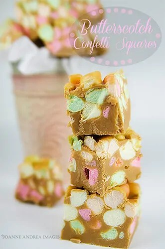 Creamy fluffy and buttery scotchy! these Butterscotch confetti squares (Peanut butter marshmallow squares) are incredibly easy to make and are a perfect fit for any party. The confetti marshmallows make it festive!