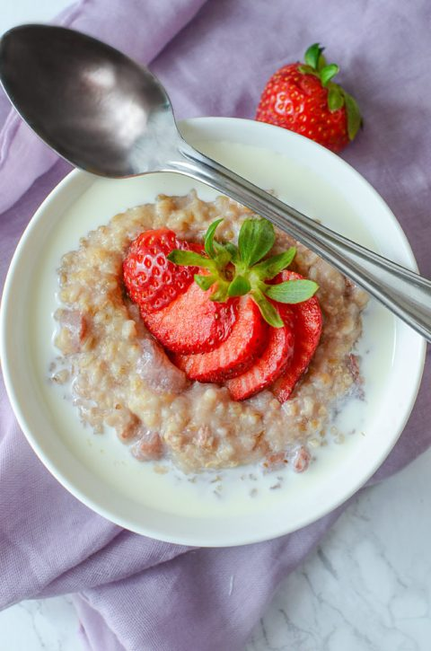 Healthy and comforting Crock Pot Strawberry Steel Cut Oats