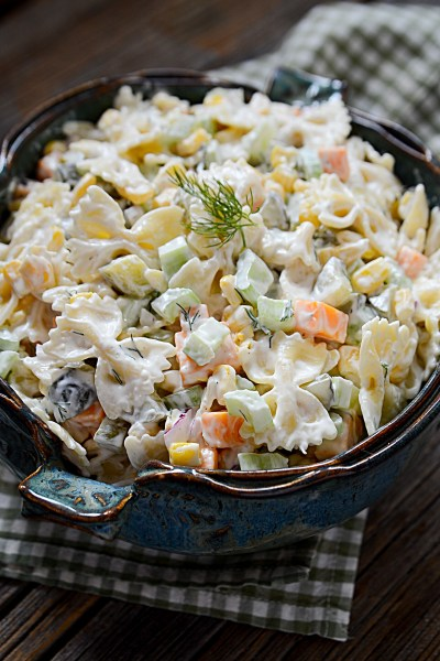 tangy and creamy dill pickle veggie pasta salad