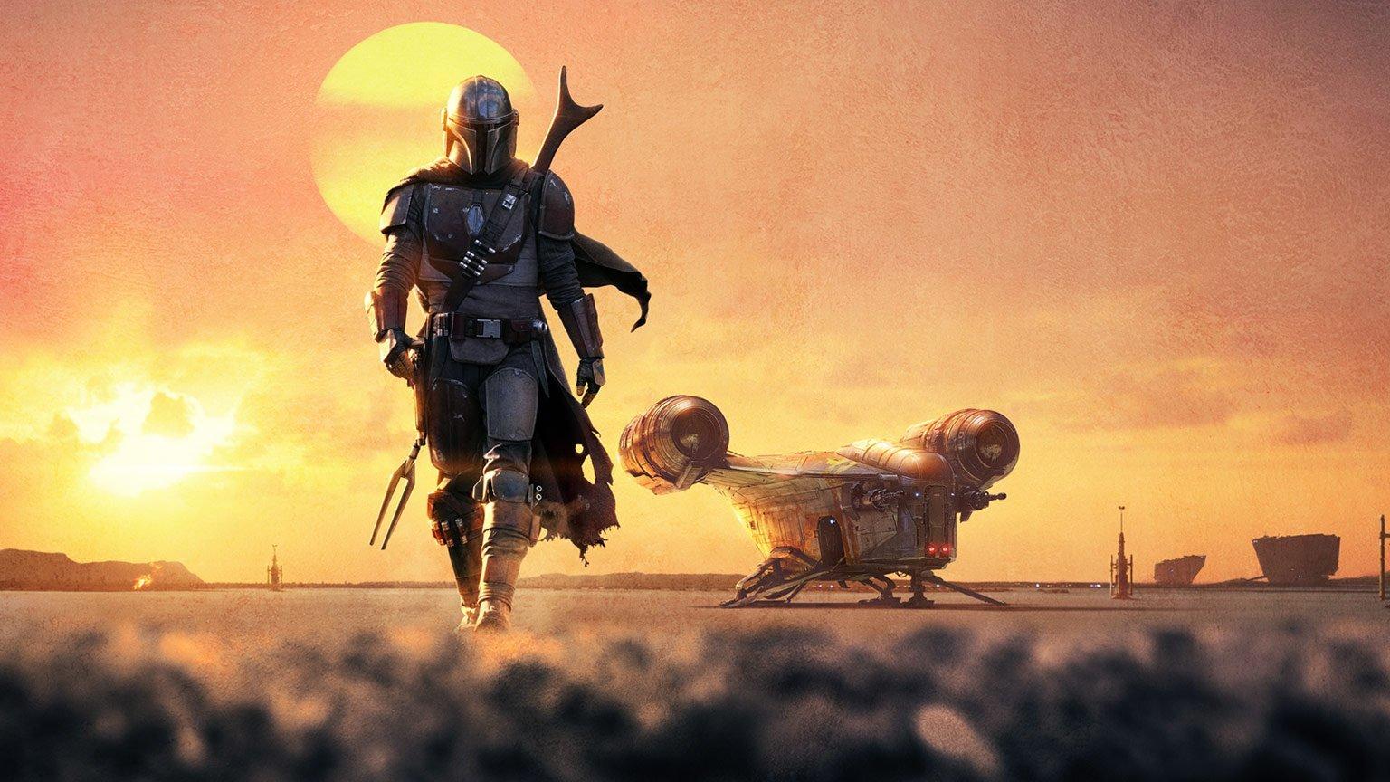 Mandalorian strides away from his ship