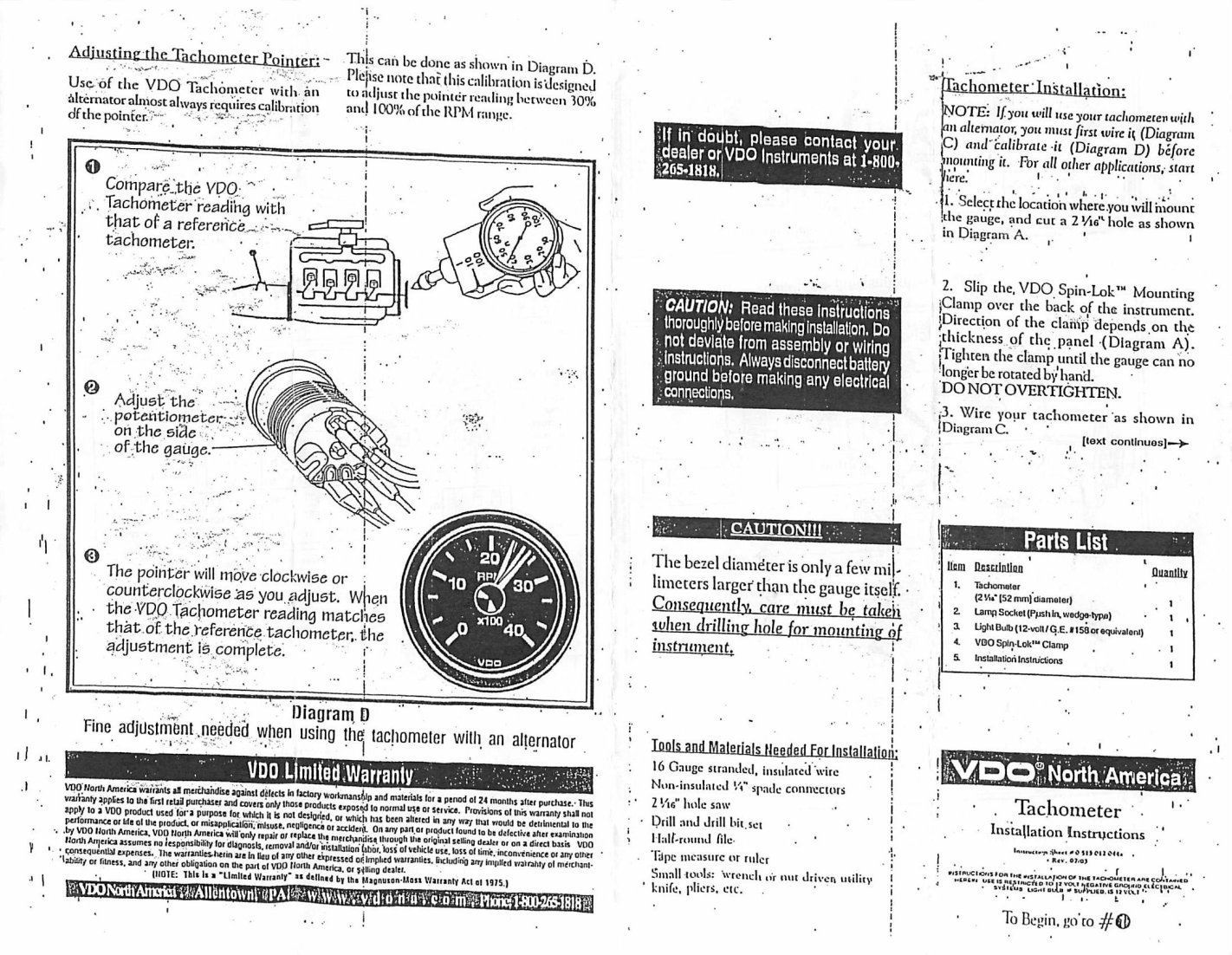 Thesamba Vdo Tachometer Instructions