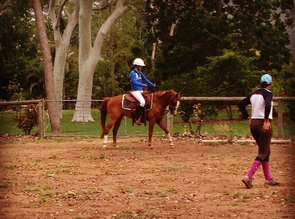 Heidi rides Flash in his first ever dressage lesson with coach Pamela Kingwill
