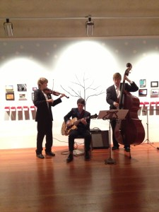 JAZZ TRIO By Annabelle Scott. It is them playing at the Monterey Museum of Art at First Night.
