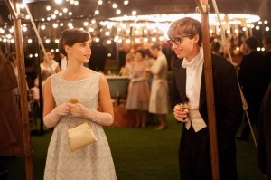 """Felicity Jones stars as Jane Wilde and Eddie Redmayne stars as her suitor Stephen Hawking in Academy Award-Winning director James Marsh's romantic drama """"The Theory of Everything,"""" a Focus Features release."""